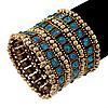 Wide Teal Blue Crystal Flex Bracelet (Burn Gold Tone Finish) - 5cm Width