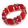 Red Cat Eye Glass Bead Flex Bracelet -18cm Length
