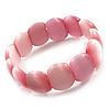 Pink Cats Eye Glass Bead Flex Bracelet -18cm Length