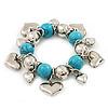 Chunky Flex Metal & Turquoise Bead 'Heart' Charm Bracelet