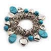 Silver Tone 'Heart' Charm Turquoise Bead Flex Bracelet