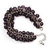 Purple Glass Bead Bracelet (Silver Tone Metal) - 16cm Length (Plus 5cm Extender)