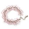 Pale Pink Glass Bead Bracelet (Silver Tone Metal) - 16cm Length (Plus 5cm Extender)