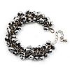 Metallic Silver Glass Bead Bracelet (Silver Tone Metal) - 16cm Length (Plus 5cm Extender)