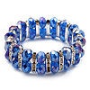 2 Row Blue Crystal Diamante Flex Bracelet (Silver Metal Finish) -17cm Length