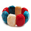 Multicoloured Resin Flex Bracelet (Light Blue, Cream & Red) - 18cm Length