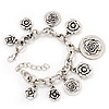 Chunky Oval Link 'Rose' Charm Bracelet In Silver Tone Metal - 18cm Length with 5cm extension