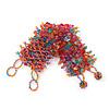 Wide Pink/Orange/Light Blue Semiprecious & Glass Bead Braided Bracelet -17cm Length