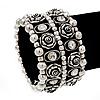 Wide Rose Crystal Flex Bracelet In Antique Silver Metal - Up to 19cm Length