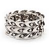 Antique Silver Vintage Crystal 'Eye' Flex Bracelet - Up to 18cm Length