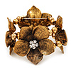 4 Large Diamante Flower Flex Bracelet In Antique Gold - up to 18cm Length