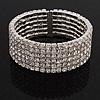 6-Row Cubic Zirconia Flex Bangle Bracelet (Silver Tone)