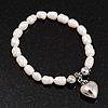 White Freshwater Pearl Silver Metal 'Heart' Flex Bracelet (Up To 19cm Length)