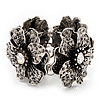 4 Large Diamante Flower Flex Bracelet In Antique Silver Metal - up to 18cm Length
