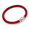 Red Leather Magnetic Bracelet -up to 20cm Length