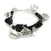 Silver Tone Metal Charm Black Leather Bracelet With Toggle Clasp - up to 18cm Length
