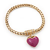 Gold Plated Magnetic Pink Enamel Heart Charm Bracelet - up to 18cm Length