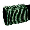 Wide Green Glass Bead Flex Bracelet - up to 19cm wrist