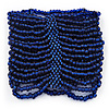 Wide Navy Blue Glass Bead Flex Bracelet - up to 17cm wrist - For Small Wrist