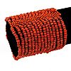 Wide Antique Orange Glass Bead Flex Bracelet - up to 19cm wrist