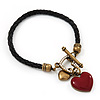Black Leather Red Enamel Heart Charm Bracelet With T- Bar Closure - up to 19cm wrist