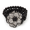 Stunning 3 Strand Black Bead Crystal Flower Stretch Bracelet - Up to 18cm Length