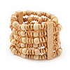 Light Brown Multistrand Wood Bead Bracelet - up to 18cm wrist
