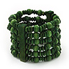 Green Multistrand Wood Bead Bracelet - up to 18cm wrist