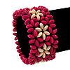 Fuchsia Floral Wood Bead Bracelet - up to 19cm wrist