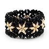 Black Floral Wood Bead Bracelet - up to 19cm wrist