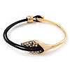 Gold Plated Swarovski Crystal 'Calla Lily' With Leather Cord Bracelet - up to 20cm length