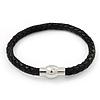Black Leather Magnetic Bracelet - up to 20cm Length