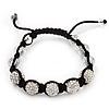 Unisex Swarovski Clear Crystal Balls Buddhist Bracelet - 11mm - Adjustable