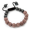 Pink Swarovski Crystal Balls & Smooth Round Hematite Beads Buddhist Bracelet - 10mm - Adjustable
