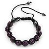 Deep Purple Swarovski Crystal Balls Buddhist Bracelet - 10mm - Adjustable