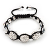 Unisex Swarovski Clear Crystal Balls Buddhist Bracelet - 13mm - Adjustable