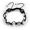Unisex Transparent White Glass Beads Buddhist Bracelet - 10mm - Adjustable