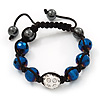Metallic Blue & Clear Crystal Balls Swarovski Buddhist Bracelet -11mm - Adjustable