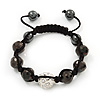 Jet Black & Clear Crystal Balls Swarovski Buddhist Bracelet -11mm - Adjustable