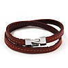 Unisex Brown Leather Wristband - (for smaller wrist - 17cm length)