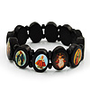 Black Oval Wooden Jesus Flex Bracelet - Up to 20cm Length