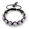 Lavender/Metallic Silver Acrylic Jewelled Balls Buddhist Bracelet - 10mm - Adjustable