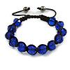 Unisex Montana Blue Glass Beads Buddhist Bracelet - 10mm - Adjustable
