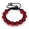 Unisex Red Glass Beads Buddhist Bracelet - 10mm - Adjustable