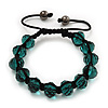 Unisex Emerald Green Glass Beads Buddhist Bracelet - 10mm - Adjustable