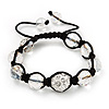 Transparent & Clear Crystal Balls Swarovski Buddhist Bracelet -10mm - Adjustable