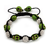 Light Green Skull Shape Stone Beads & Crystal Balls Buddhist Bracelet - 11mm diameter - Adjustable