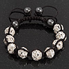 Clear Swarovski Crystal Balls & Smooth Round Hematite Beads Buddhist Bracelet - Adjustable