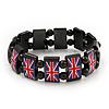 UK British Flag Union Jack Hematite Elasticated Bracelet - up to 20cm length