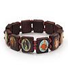 Stretch Brown Wooden Saints Bracelet / Jesus Bracelet / All Saints Bracelet - Up to 20cm Length